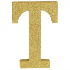Letter T Party Decorations - MDF Sign Glittered Gold