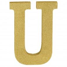 Letter U Glittered Gold MDF Sign Misc Decoration