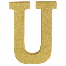 Letter U Party Decorations - MDF Sign Glittered Gold