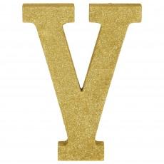 Letter V Glittered Gold MDF Sign Misc Decoration