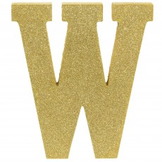 Letter W Party Decorations - MDF Sign Glittered Gold