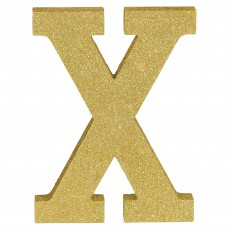 Letter X Glittered Gold MDF Sign Misc Decoration