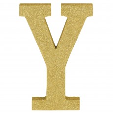 Letter Y Glittered Gold MDF Sign Misc Decoration