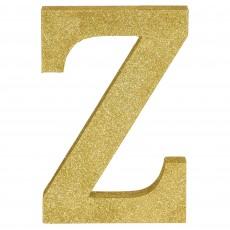 Letter Z Glittered Gold MDF Sign Misc Decoration