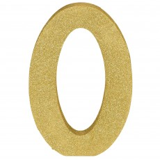 Number 0 Glittered Gold MDF Misc Decoration