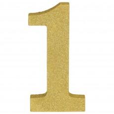 Number 1 Glittered Gold MDF Misc Decoration