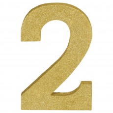 Number 2 Glittered Gold MDF Misc Decoration