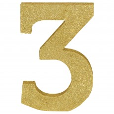 Number 3 Party Decorations - MDF Sign Glittered Gold