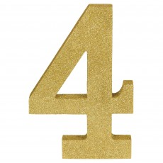Number 4 Party Decorations - MDF Sign Glittered Gold