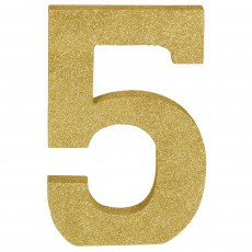 Number 5 Party Decorations - MDF Sign Glittered Gold
