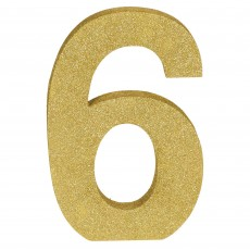 Number 6 Glittered Gold MDF Misc Decoration