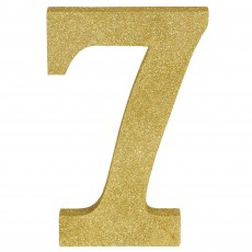 Number 7 Party Decorations - MDF Sign Glittered Gold
