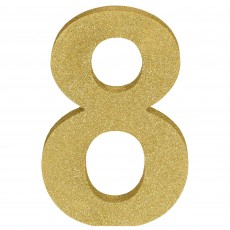 Number 8 Glittered Gold MDF Misc Decoration