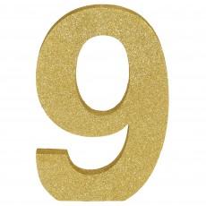 Number 9 Glittered Gold MDF Sign Misc Decoration