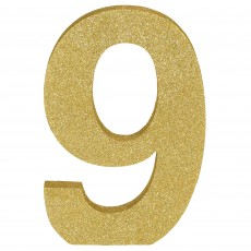 Number 9 Party Decorations - MDF Sign Glittered Gold