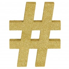 Hashtag Symbol Glittered Gold MDF Sign Misc Decoration