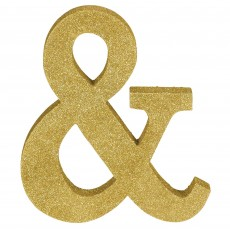 Ampersand Symbol Glittered Gold MDF Sign Misc Decoration