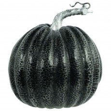 Halloween Black Pumpkin with Silver Crackle Prop Misc Decoration