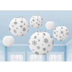 Christmas White & Silver Winter Icon Snowflakes Lanterns