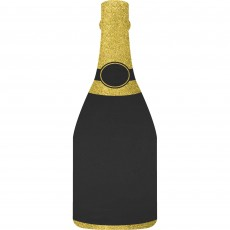 New Year Black & Gold Bubbly Bottle Easel Chalkboard Glittered Sign Misc Decoration