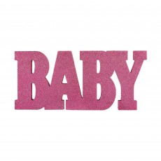Baby Shower Party Decorations - Girl Glittered Standing MDF Sign