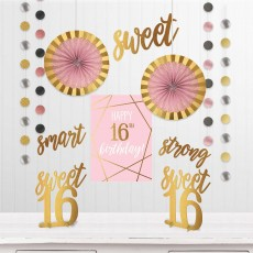 16th Birthday Elegant Sixteen Blush Room Decorating Kit