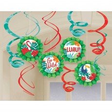 Hawaiian Luau Tropical Jungle Glittered Fans & Swirls Hanging Decoration