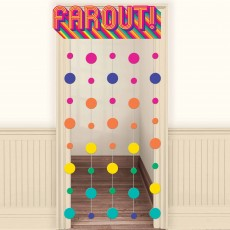 Disco & 70's Party Decorations - Door Decoration Good Vibes Curtain