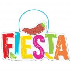 Mexican Fiesta MDF Sign FIESTA Hanging Decoration 29cm x 17cm