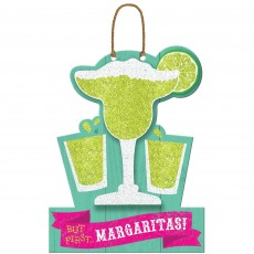 Mexican Fiesta MDF Sign But First Margaritas! Hanging Decoration 24cm x 33cm