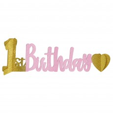 Girl's 1st Birthday Party Decorations - Centrepiece