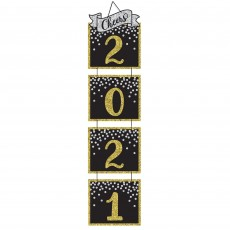Black, Silver & Gold New Year Jumbo 2021 Cheers Hanging Decoration 1.6m x 39cm