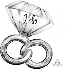 SuperShape Wedding Rings I Do Shaped Balloon 76cm x 69cm