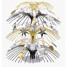 Black, Silver & Gold New Year Mini Stars & Bottle Cascade Centrepiece 19cm