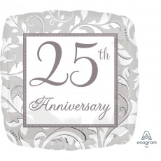 25th Anniversary Silver Scroll Standard XL Shaped Balloon