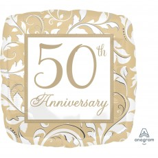50th Anniversary Gold Scroll Standard XL Shaped Balloon
