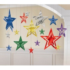 Multi Colour ed 3D Foil Star Hanging Decorations
