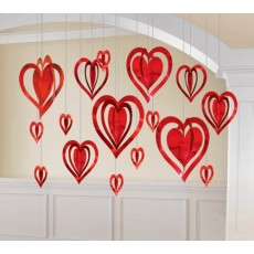 Love Red 3D Hearts Foil Hanging Decorations