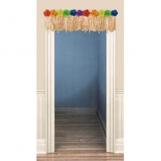 Hawaiian Summer Luau Fringe & Flowers Door Decoration