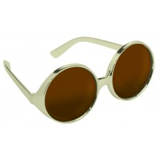 Brown Fun Shades Round Bronze Tinted Glasses Costume Accessorie