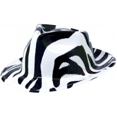 Totally 80's Black & White Zebra Fedora Hat Head Accessorie