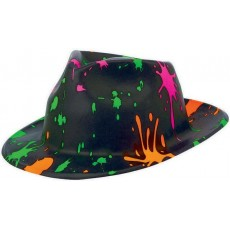 Totally 80's Paint Splatter Fedora Hat Costume Accessorie