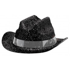 Cowboy & Western Mini Glitter Black Cowboy Hat Head Accessorie