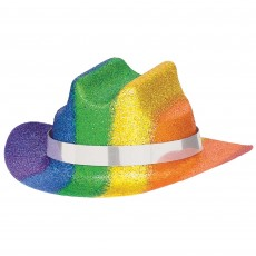 Rainbow Mini Glitter  Cowboy Hat Head Accessorie