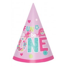 Girl One Wild Cone Paper Fun to be One Party Hats Pack of 8