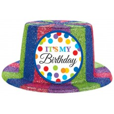 Happy Birthday Bright Sparkle Glitter Plastic Top Hat Head Accessorie