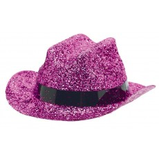 Cowboy & Western Mini Glitter Pink Cowboy Hat Head Accessorie