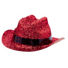 Cowboy & Western Mini Glitter Red Cowboy Hat Head Accessorie