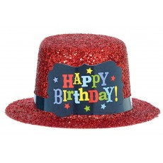 Happy Birthday Birthday Brights Mini Plastic Glitter Hat Head Accessorie