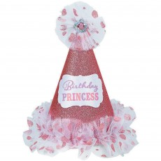 Princess Paper & Fabric Glitter Cone Hat Head Accessorie